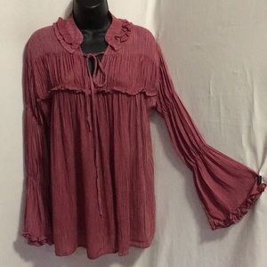 Easel long sleeve washed rayon gauze top sizes S-L